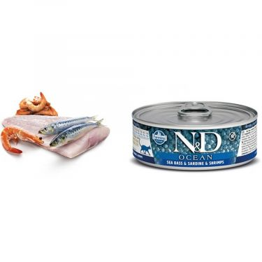 N&D Cat Ocean Sea Bass, Sardine & Shrimp Wet Food