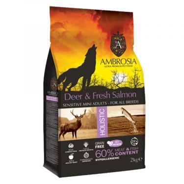 Ambrosia Dog Grain Free Adult Mini Deer & Fresh Salmon