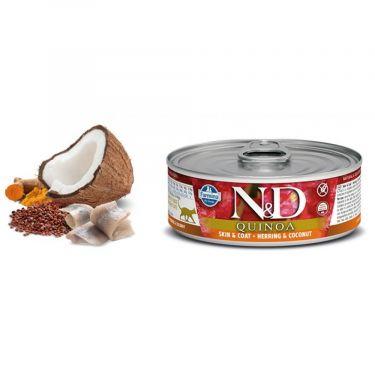 N&D Cat Quinoa Skin & Coat Herring & Coconut Wet Food